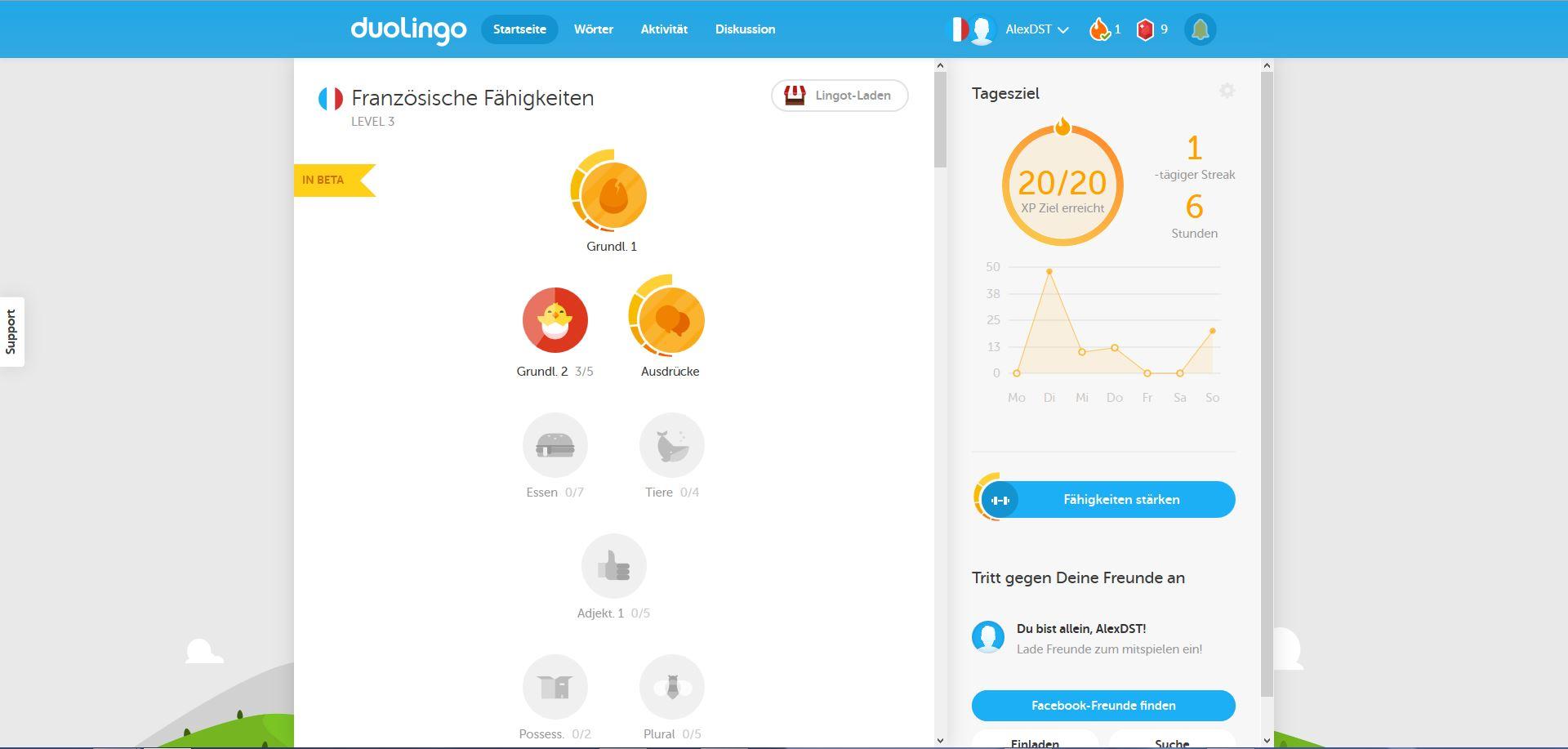 Duolingo Startseite